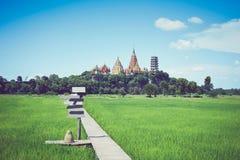 一个农场的图象有一个木走道和后面的是寺庙 免版税库存照片