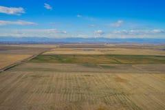 一个农场的鸟瞰图在冬天 免版税库存照片