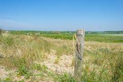 一个农村风景的看法从多小山沙丘的在阳光下在春天 免版税库存照片