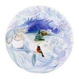 一个冠的美丽的少妇有一只小鸟的在她的手上反对冬天背景 一个女孩的概念作为一个冬天 库存照片