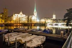 一个冬天晚上在苏黎世 免版税库存图片