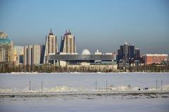 一个冬天视图在阿斯塔纳 库存照片