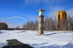 一个冬天视图在阿斯塔纳 库存图片