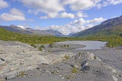 一个冰河平原的终端湖 库存照片