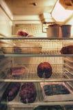 一个冰箱用一些蒜味咸腊肠 免版税库存照片