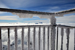 从一个冷淡的阳台的阿尔卑斯 库存图片