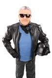 一个凉快的前辈的垂直的射击皮夹克的 库存图片