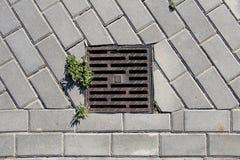 一个出入孔栅格的细节在街道的 库存照片