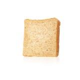 一个切片的特写镜头图象反对白色bac的白面包 库存照片