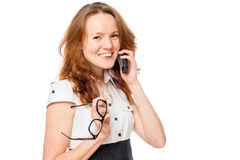 一个办公室工作者的水平的画象有电话的 库存图片