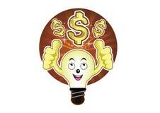 一个动画片电灯泡有美元的一个明亮的想法 库存图片
