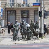 一个匿名路人,转折,人,弗罗茨瓦夫,波兰雕塑的纪念碑  库存照片