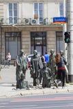 一个匿名路人,转折,人,弗罗茨瓦夫,波兰雕塑的纪念碑  免版税库存照片