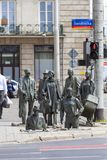 一个匿名路人,转折,人,弗罗茨瓦夫,波兰雕塑的纪念碑  库存图片