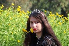 一个十几岁的女孩获得乐趣在菊花的领域 库存照片