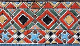 一个十字架的被绘的细节在快活的公墓, Sapanta的 免版税图库摄影