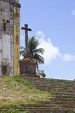 一个十字架的细节从一个古老教会的在奥林达,累西腓, Braz 库存照片