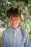 一个十岁的男孩的画象 库存照片