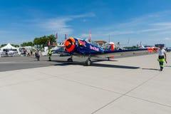 一个单一装有引擎的先进的教练机北美洲T-6德克萨斯人 免版税库存图片