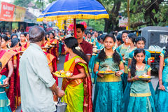 一个印度节日的参加者在Alleppey,喀拉拉 免版税库存照片