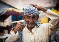 一个印度香客在赫尔德瓦尔,印度 免版税库存图片