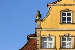 一个历史城市的facadess和屋顶在南德国 免版税库存照片