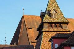 一个历史城市的facadess和屋顶在南德国 免版税库存图片