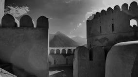 一个历史堡垒的里面的黑白看法 库存图片