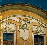 一个历史大厦老明信片  Caransebes,罗马尼亚 库存图片