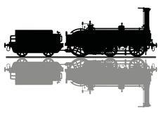 一个历史机车的剪影 库存图片