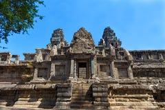 一个历史的高棉寺庙的古老废墟在寺庙compl的 库存图片
