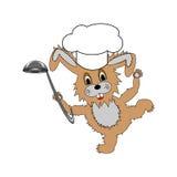 戴一个厨师帽子和与的一只滑稽的动画片兔子 免版税库存照片