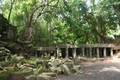一个古庙,柬埔寨的废墟 免版税库存图片