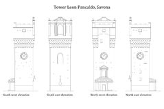 一个古老中世纪塔的建筑学 免版税图库摄影