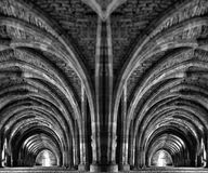 一个古老修道院的内部镜象 库存照片