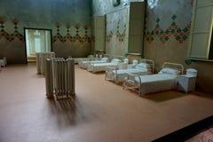 一个古老医院病房,显示在Sant波城医院的博物馆在巴塞罗那 免版税库存图片