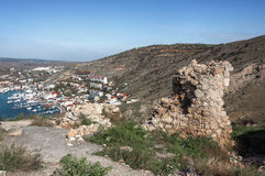 一个古老堡垒的废墟在Balaklava 免版税图库摄影
