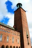 一个古老大厦在斯德哥尔摩使用了当市政厅 库存图片