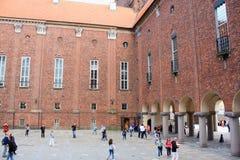 一个古老大厦在斯德哥尔摩使用了当市政厅 免版税库存图片