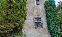 一个古老大厦的典型窗口在南蒂罗尔, Meran,意大利 免版税库存图片