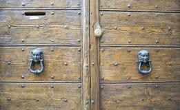 一个古老意大利门的细节 库存照片