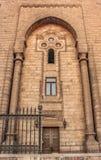 一个古老清真寺的墙壁在老开罗,埃及 库存图片