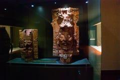 一个古老玛雅雕塑 博物馆的博览会在帕伦克 恰帕斯州,墨西哥 库存图片