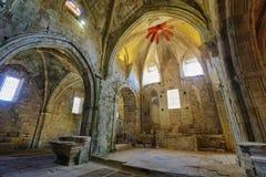 一个古老被放弃的修道院的废墟在圣玛丽亚de rioseco,西班牙 图库摄影