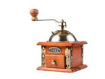 一个古色古香的磨咖啡器的照片在白色的 图库摄影