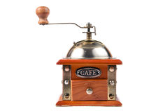 一个古色古香的磨咖啡器的照片在白色的 库存图片