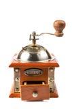 一个古色古香的磨咖啡器的照片在白色的 免版税图库摄影
