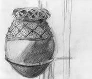 一个古色古香的非洲罐的例证 免版税库存照片