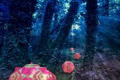 一个另一世界的五颜六色的荧光的森林 免版税库存照片