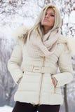 一个可爱的女孩的画象在冬天穿衣 免版税库存照片